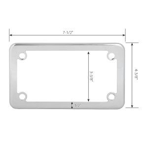 Polished Stainless Steel Plain Motorcycle License Plate Frame - 4 Holes Measurements