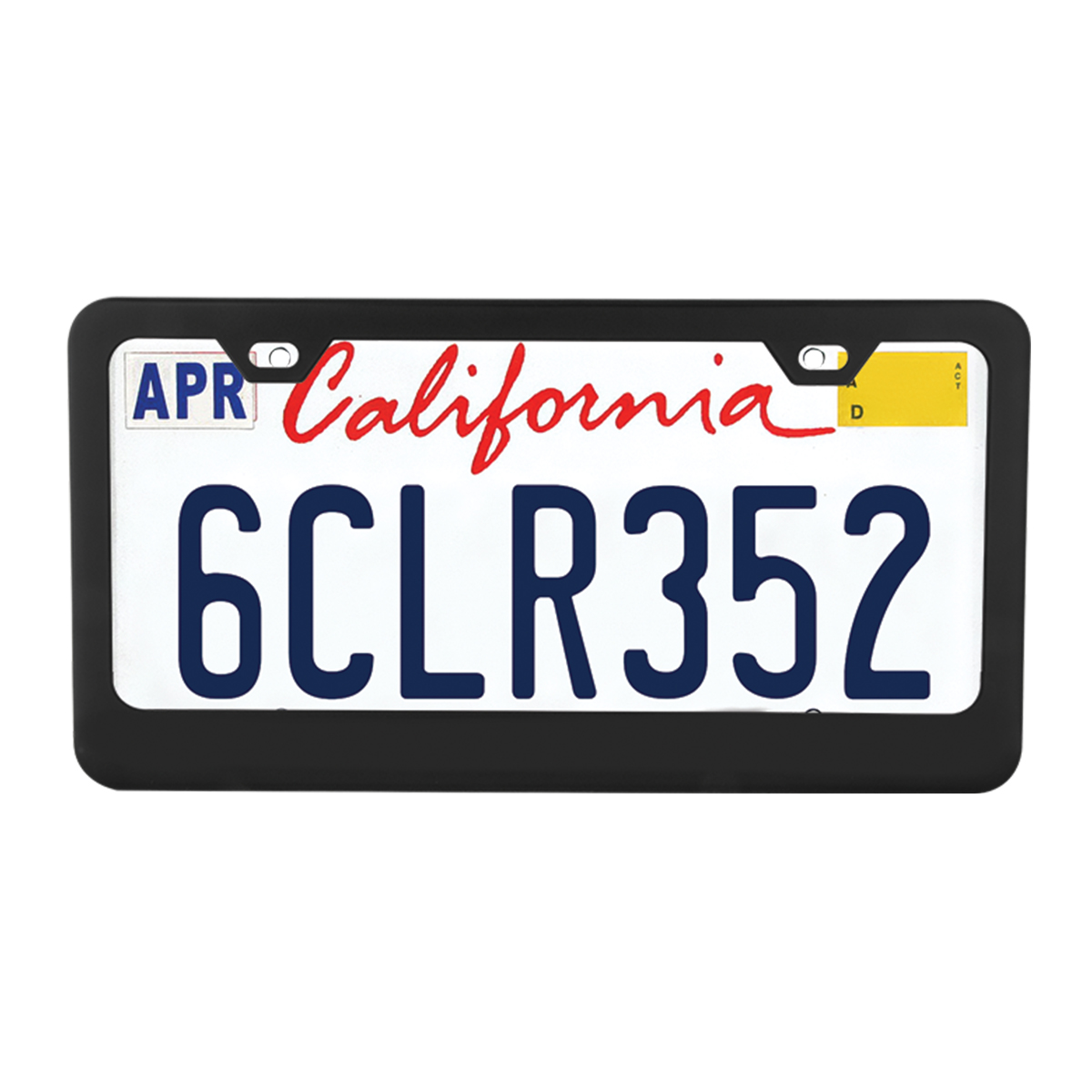 60439 Flat/Matte Plain Black 2 Hole License Plate Frame - Profile View