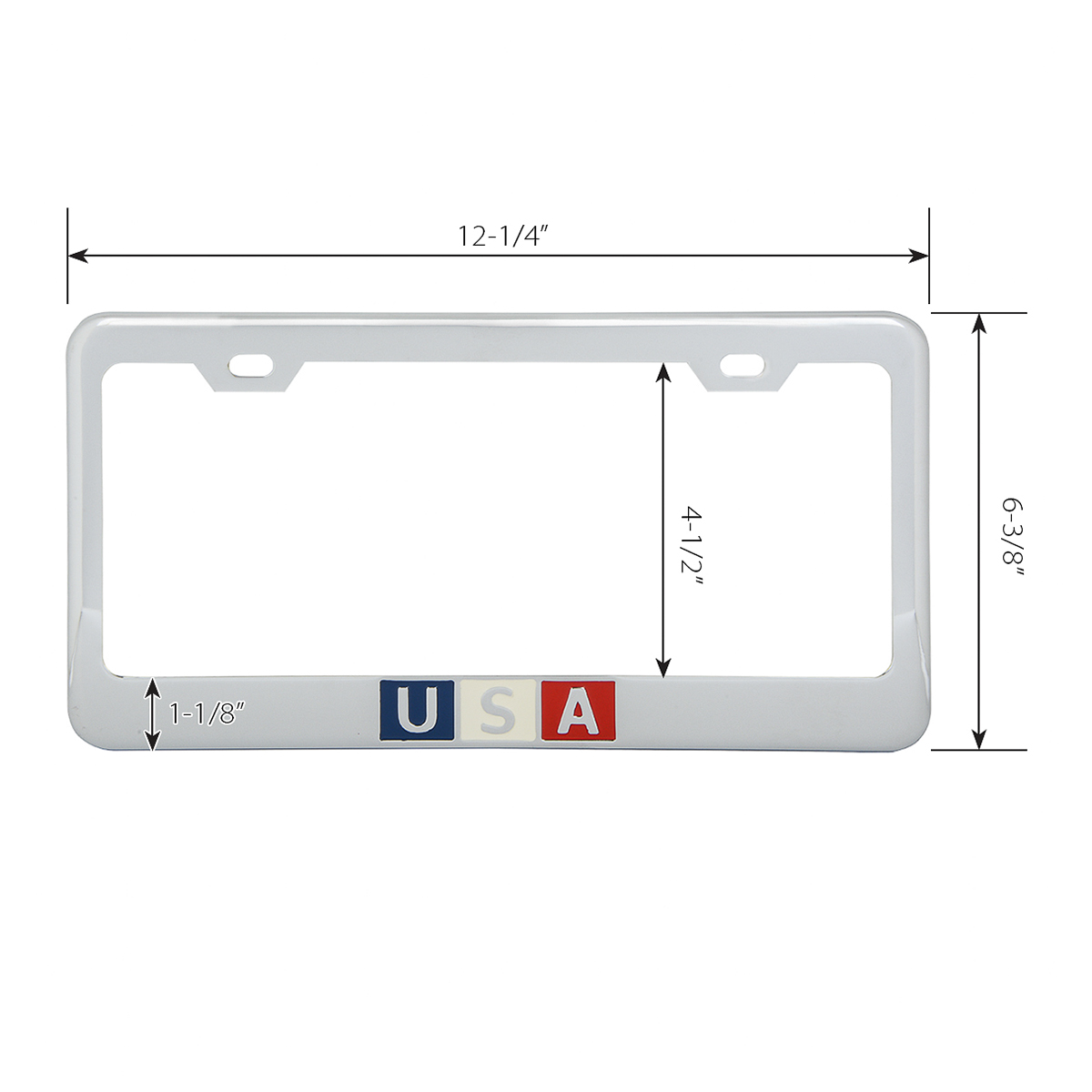 Chrome Plated Steel USA License Plate Frame - Measurements
