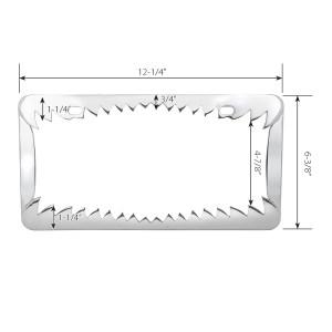 Chrome Die Cast Shark Teeth License Plate Frame - Measurements