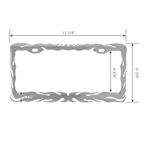 Chrome Die Cast Flame License Plate Frame - Measurements