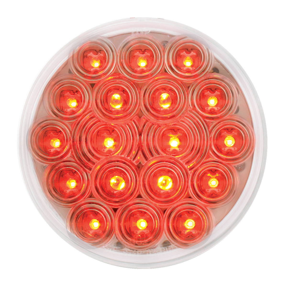 "#76453 4"" Round Fleet LED Flat Red/Clear Light"