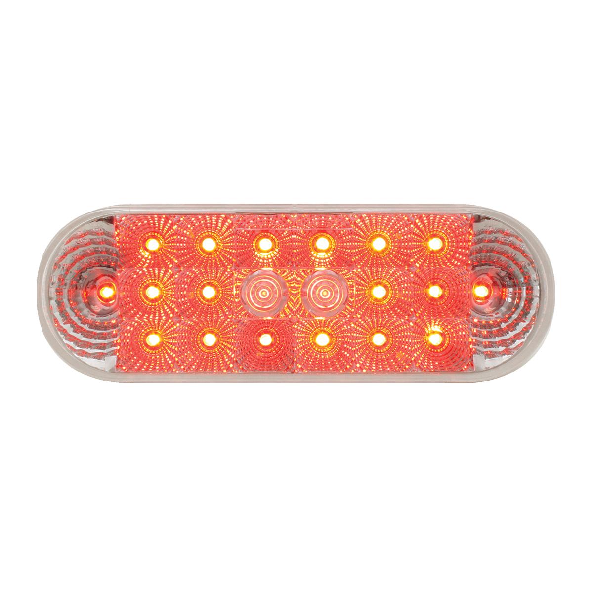 #77054 - Oval Spyder LED Flat Red/Clear Light - Slanted