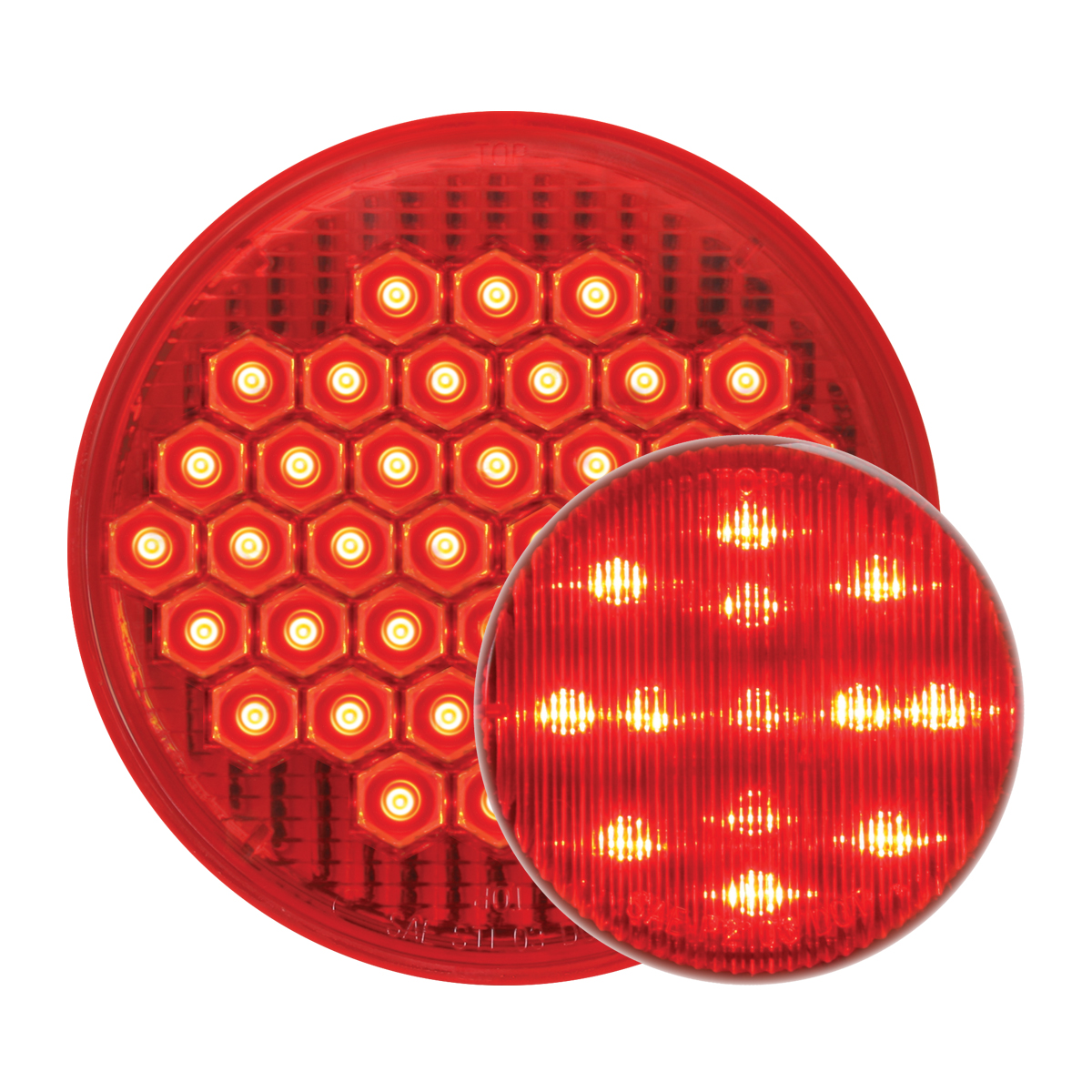 GG Grand General 91090 Plated Rear Panel with 4 inches Red Light and Chrome Plastic Rim with Visor