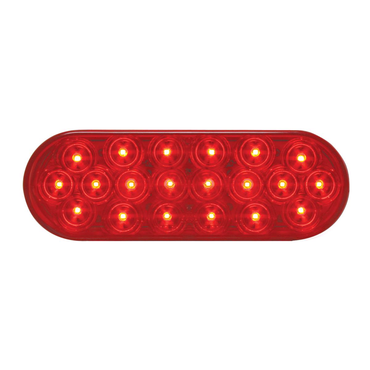 #87721 - Oval Fleet LED Flat Red/Red Light - Slanted