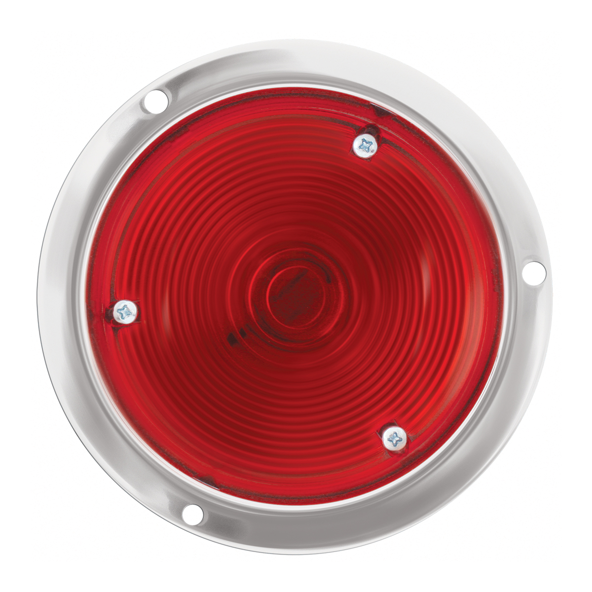 "#90380 4"" Round Incandescent S.S. Housing Red/Red Light"