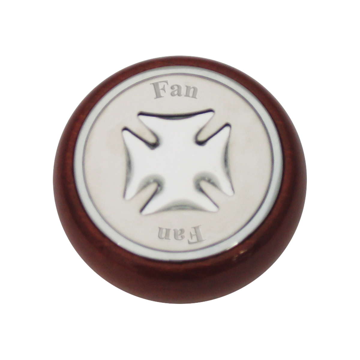 95426 Silver Iron Cross Dashboard Control Knob w/ Fan Script