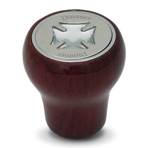 Rosewood Dashboard Control Knobs with Script Plate and Iron Cross Sticker