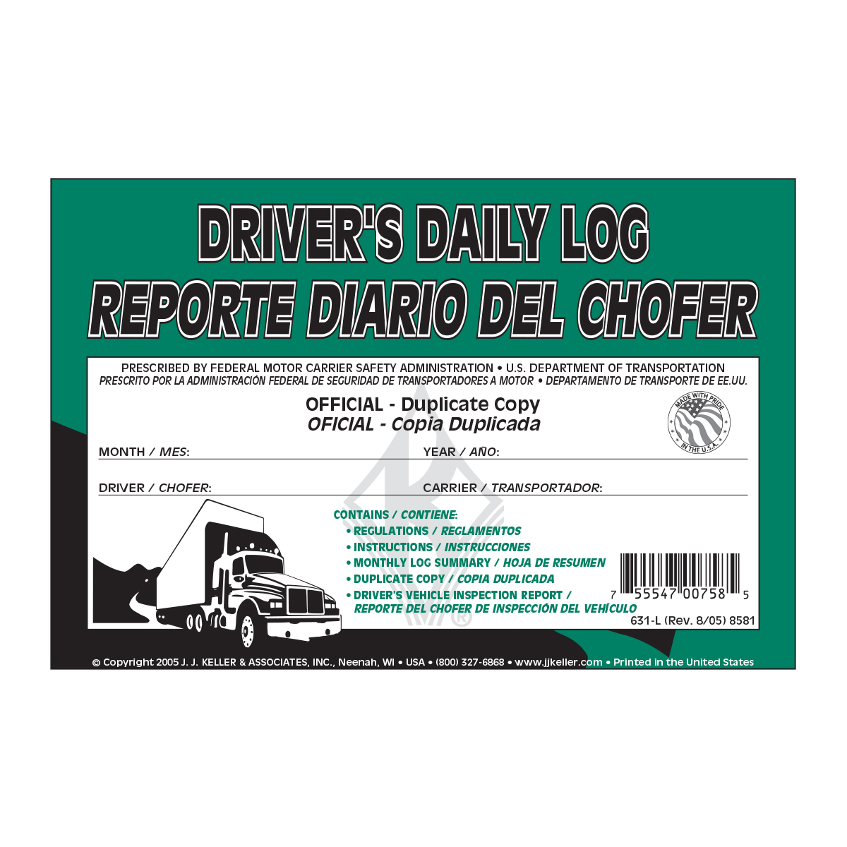 99905 Spanish/English Driver Daily Log with Simplified DVIR