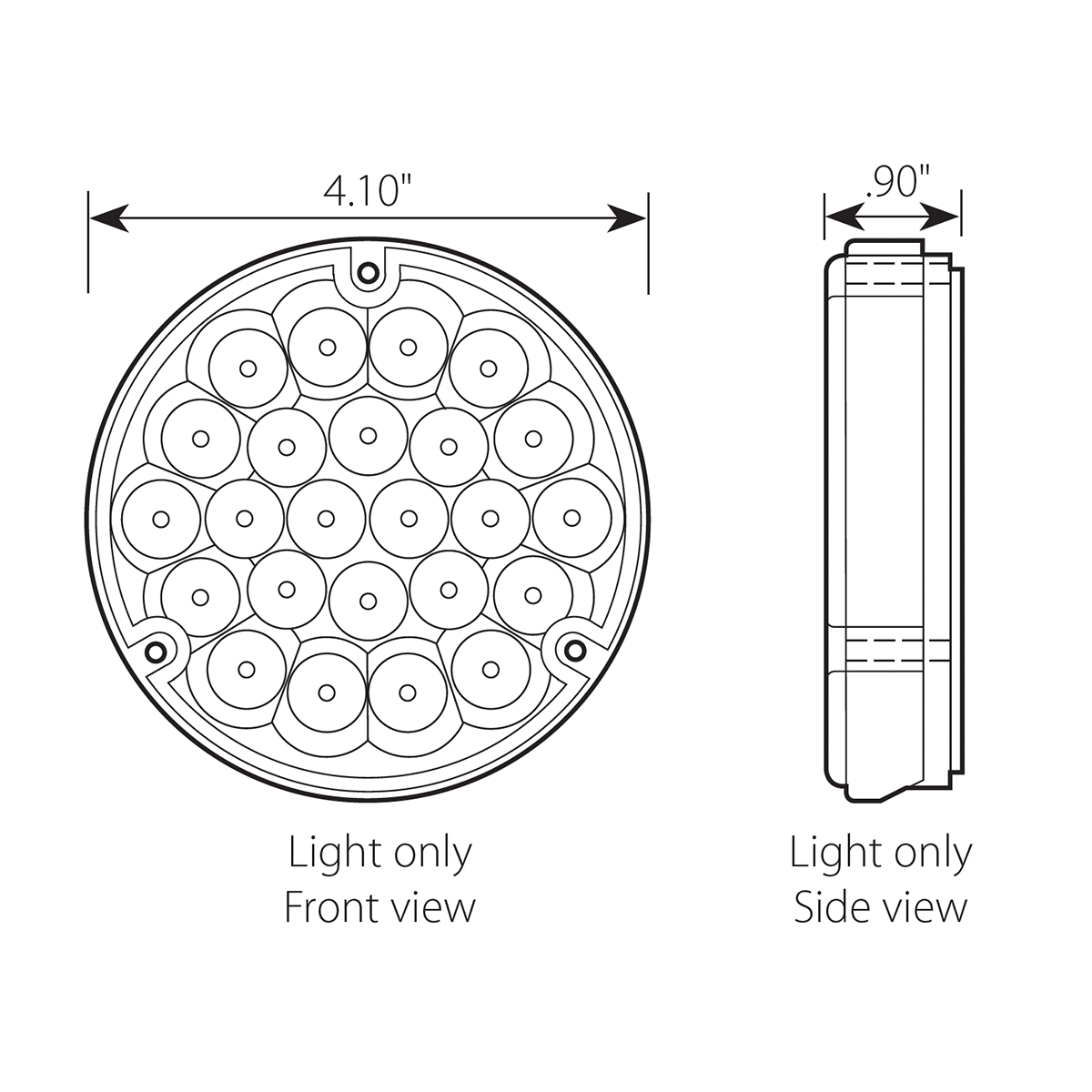 "4"" Pearl LED Light without Housing - Diagram"