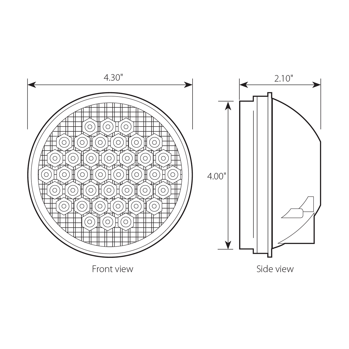 "4"" High Count LED Light - Diagram"