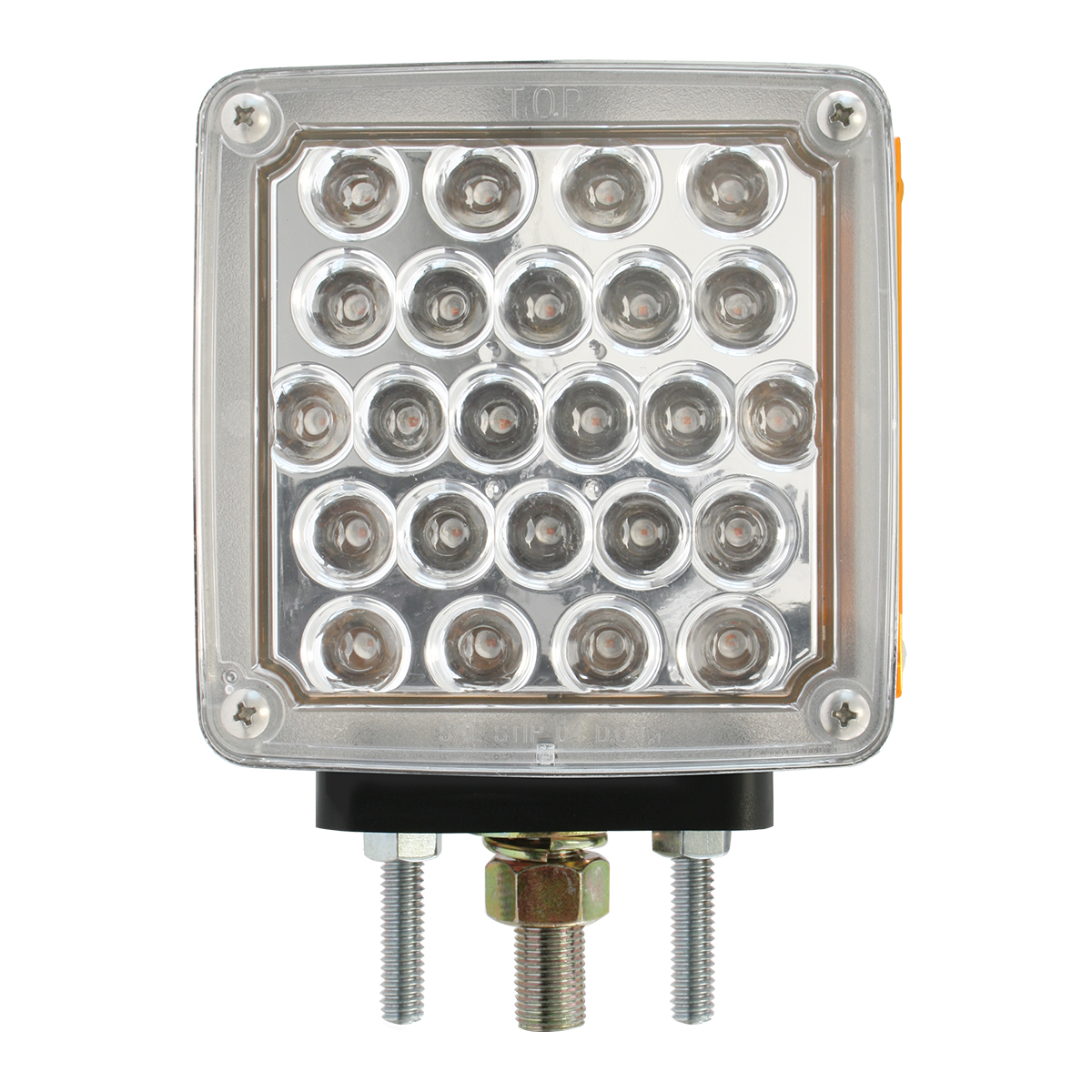 Square Double Face Pearl LED Pedestal Light in Clear Lens