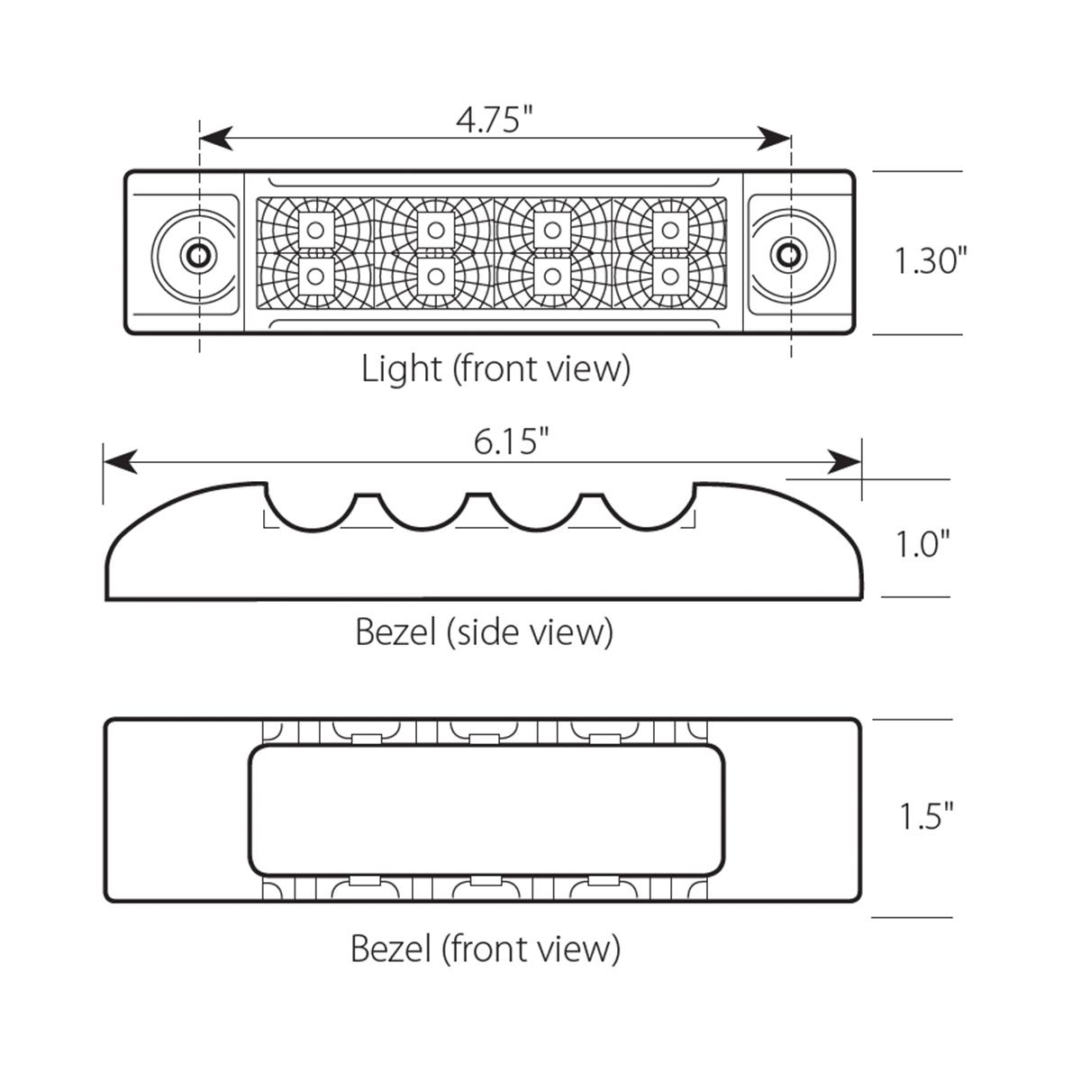 Slim Rectangular Spyder LED Marker Light w/ Chrome Bezel