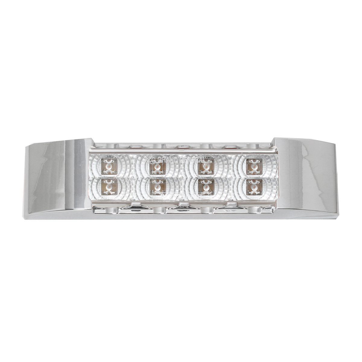 Slim Rectangular Spyder LED Light in Clear Lens with Chrome Plastic Bezel