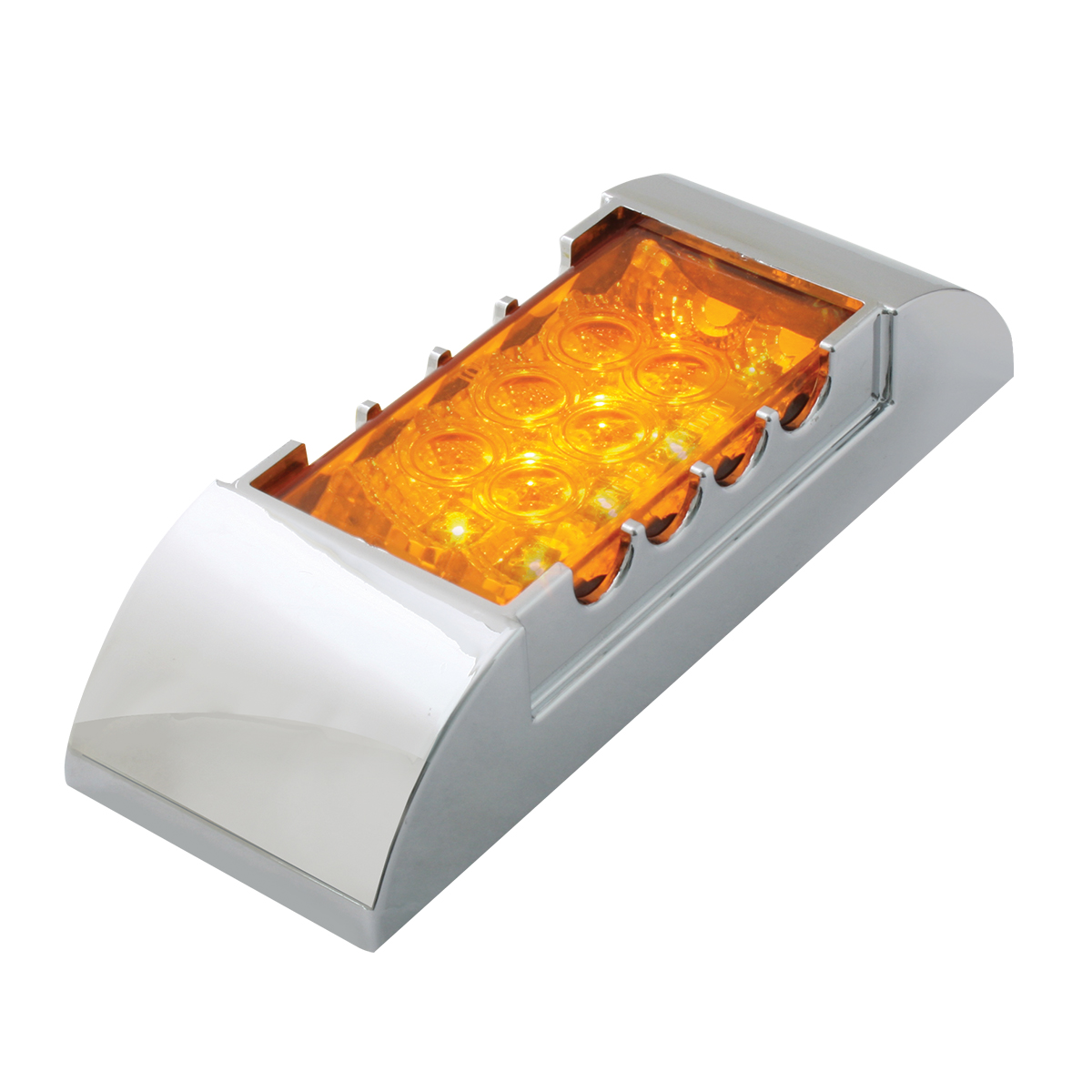 76214 Rectangular Wide Angle Spyder LED Marker Light w/ Chrome Plastic Bezel