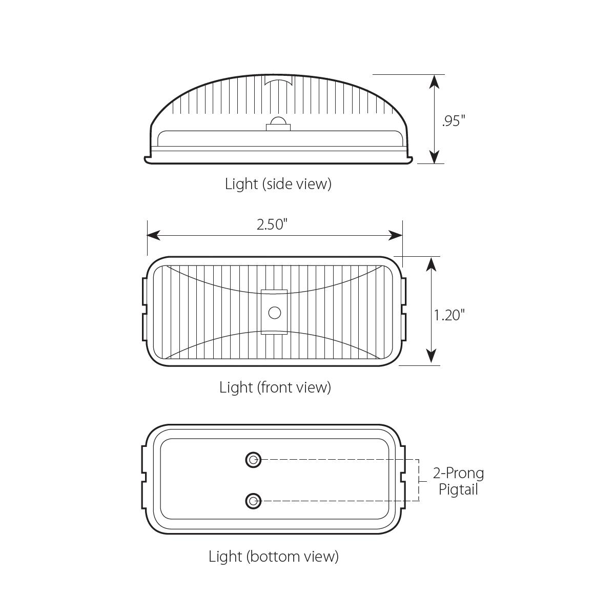 Small Rectangular Fleet LED Marker Light