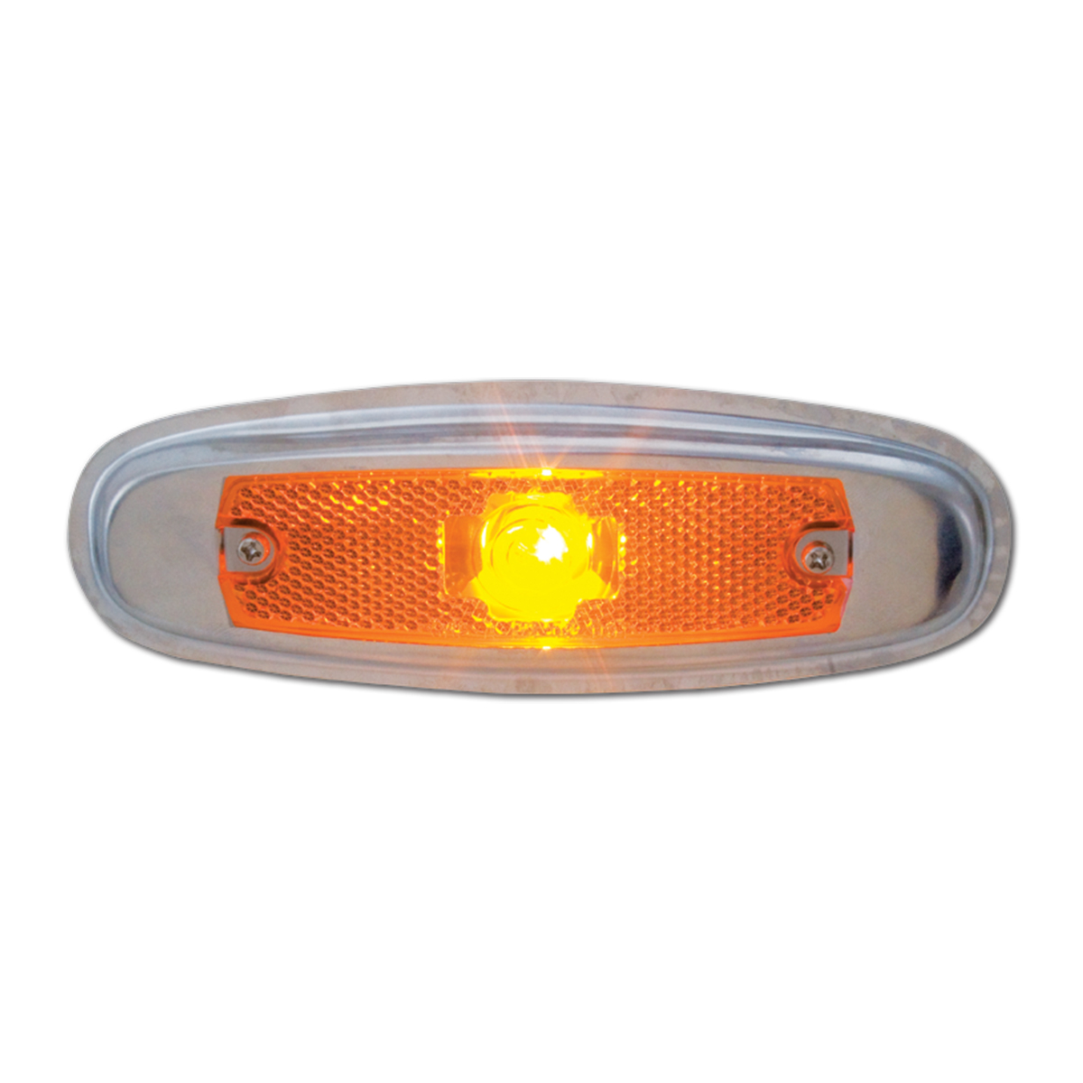 #81300 Orignial Style Amber Peterbilt Light with Regular Stainless Steel Rim