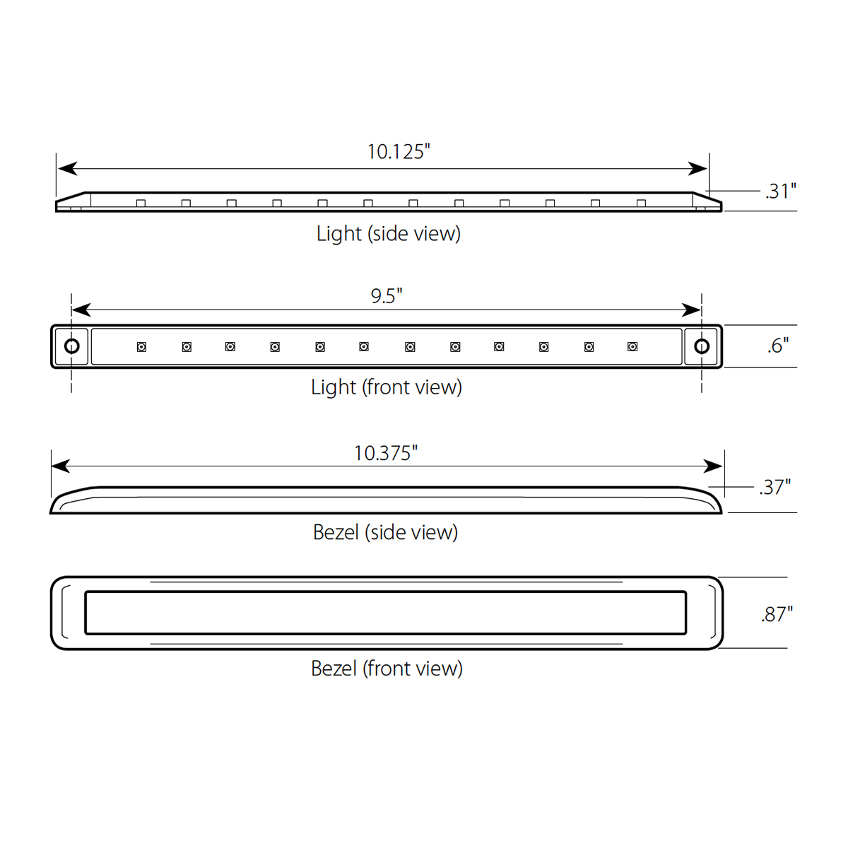 "10-1/8"" Ultra Thin LED Marker Light Bar with Chrome Bezel"
