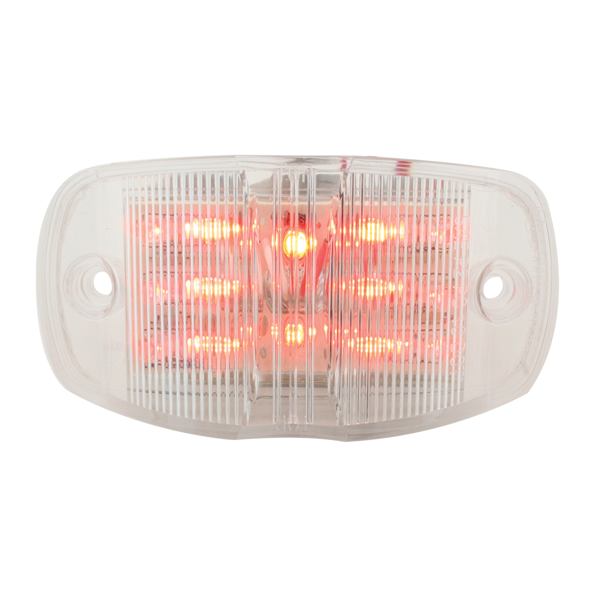 Rectangular Camel Back Wide Angle LED Marker Light in Red/Clear