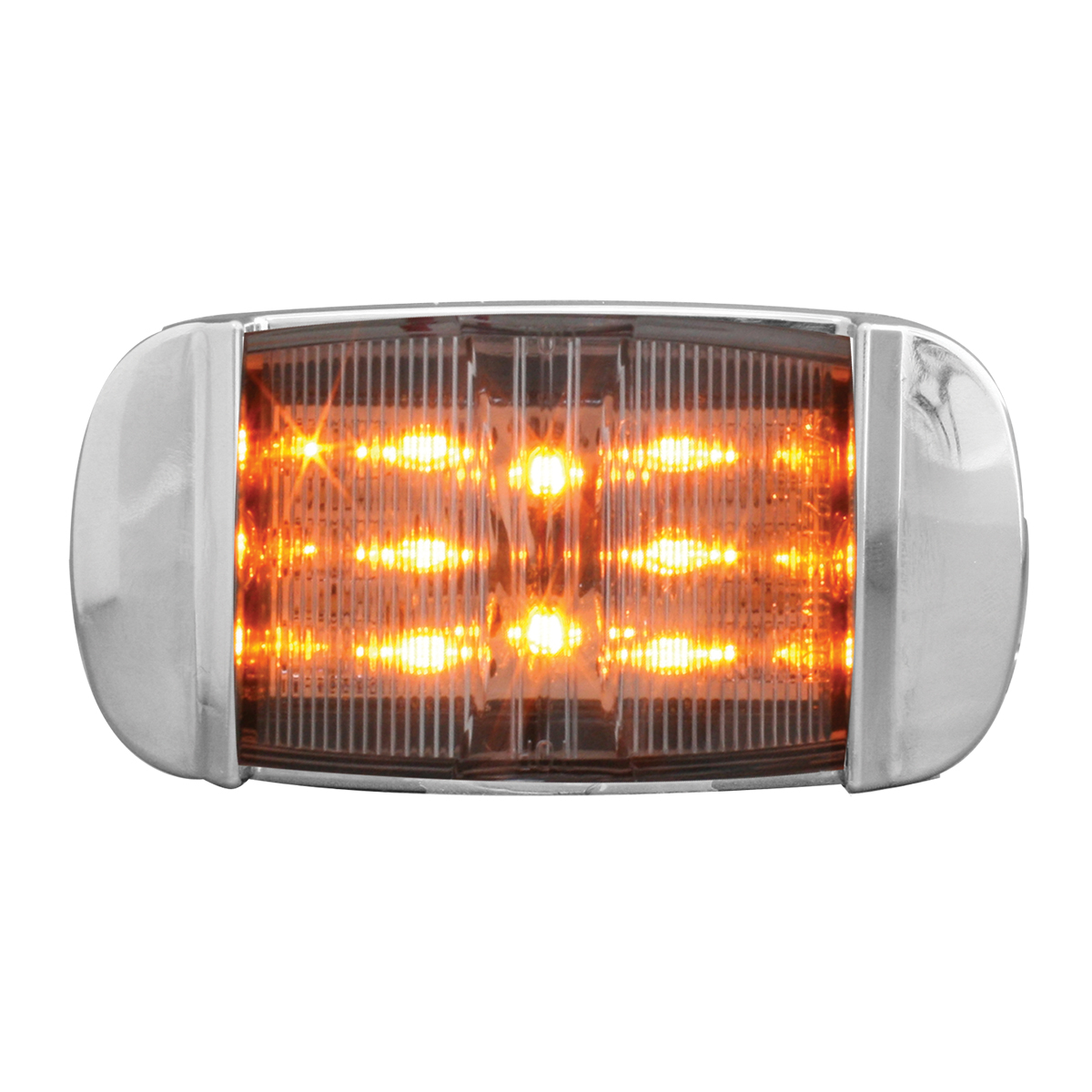 76255 Rectangular Camel Back Wide Angle LED Marker Light w/ Chrome Bezel