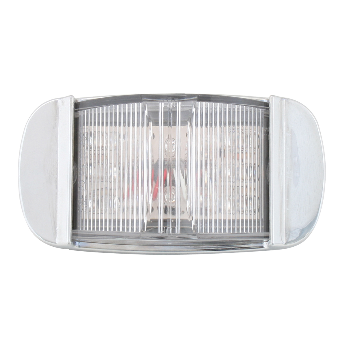 Grand General 76256 Red Rectangular Camel Back Wide Angle 14-LED Marker and Clearance Sealed Light with Chrome Bezel