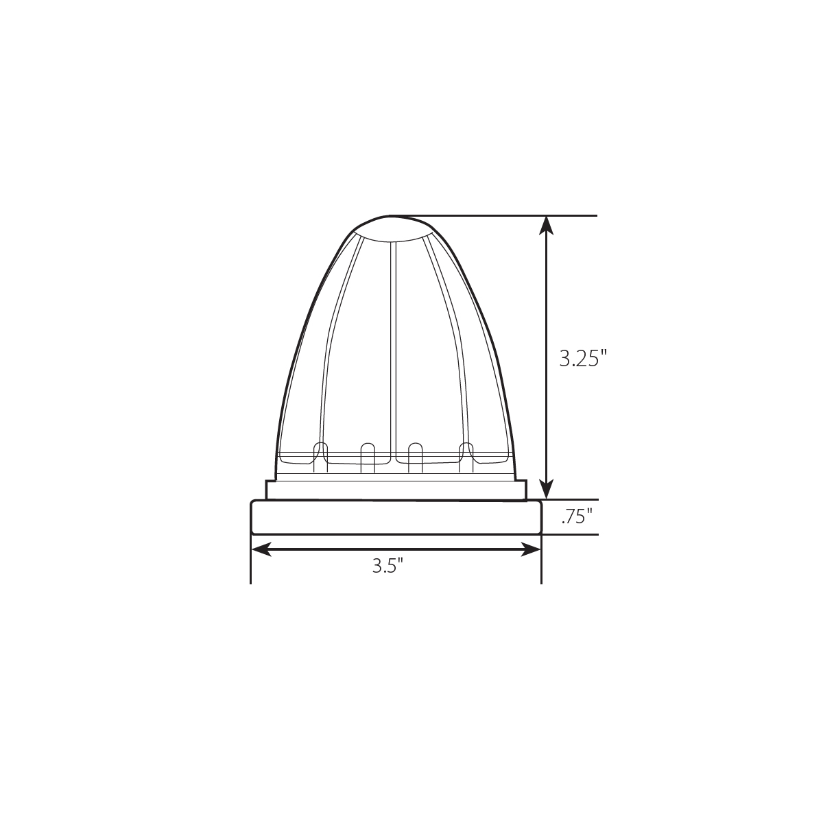 Watermelon Style Surface Mount LED Turn/Marker Light with Bezel - Diagram
