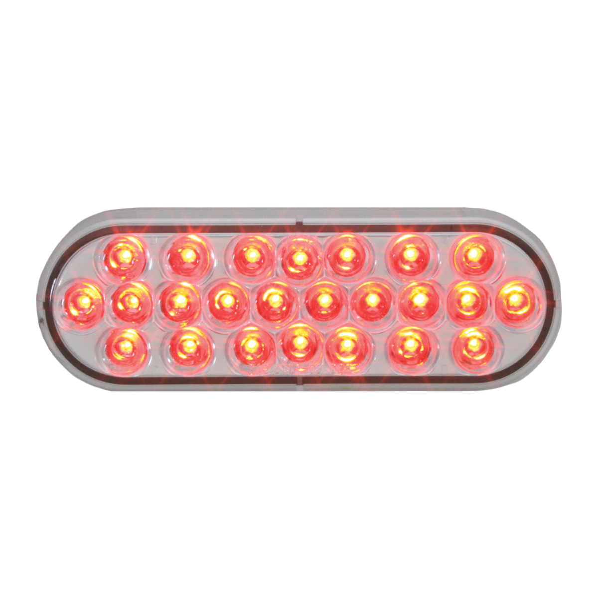 Oval Synchronous/Alternating Pearl LED Strobe Light in Red/Clear