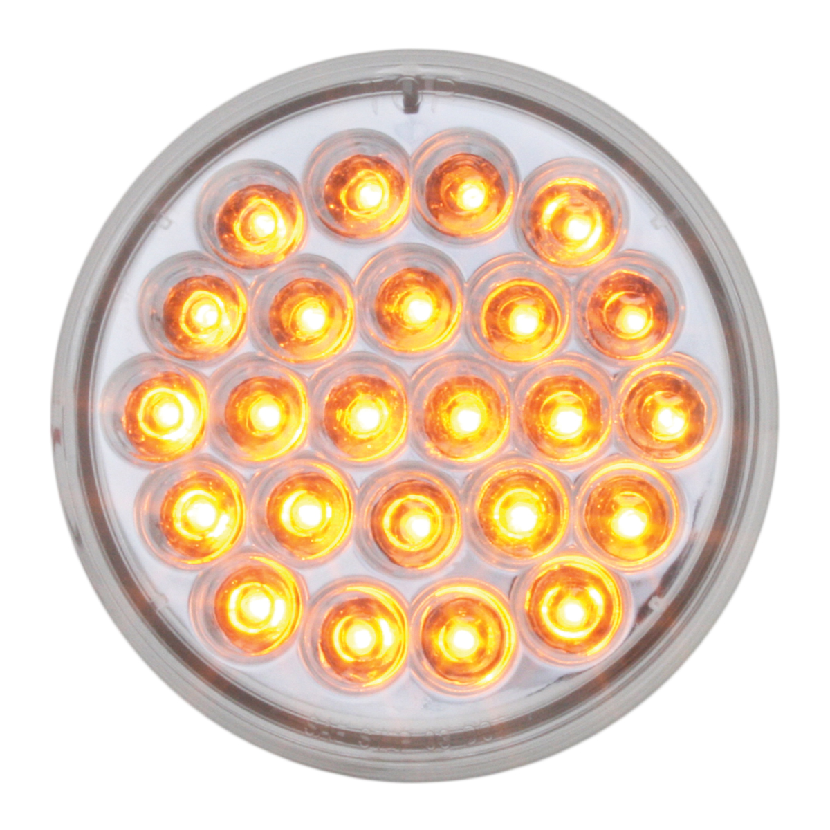 "4"" Round Synchronous/Alternating Pearl LED Strobe Light in Amber/Clear"
