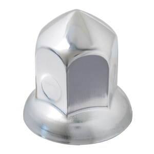 Cone Chrome Steel Push-On Lug Nut Cover w/ Flange