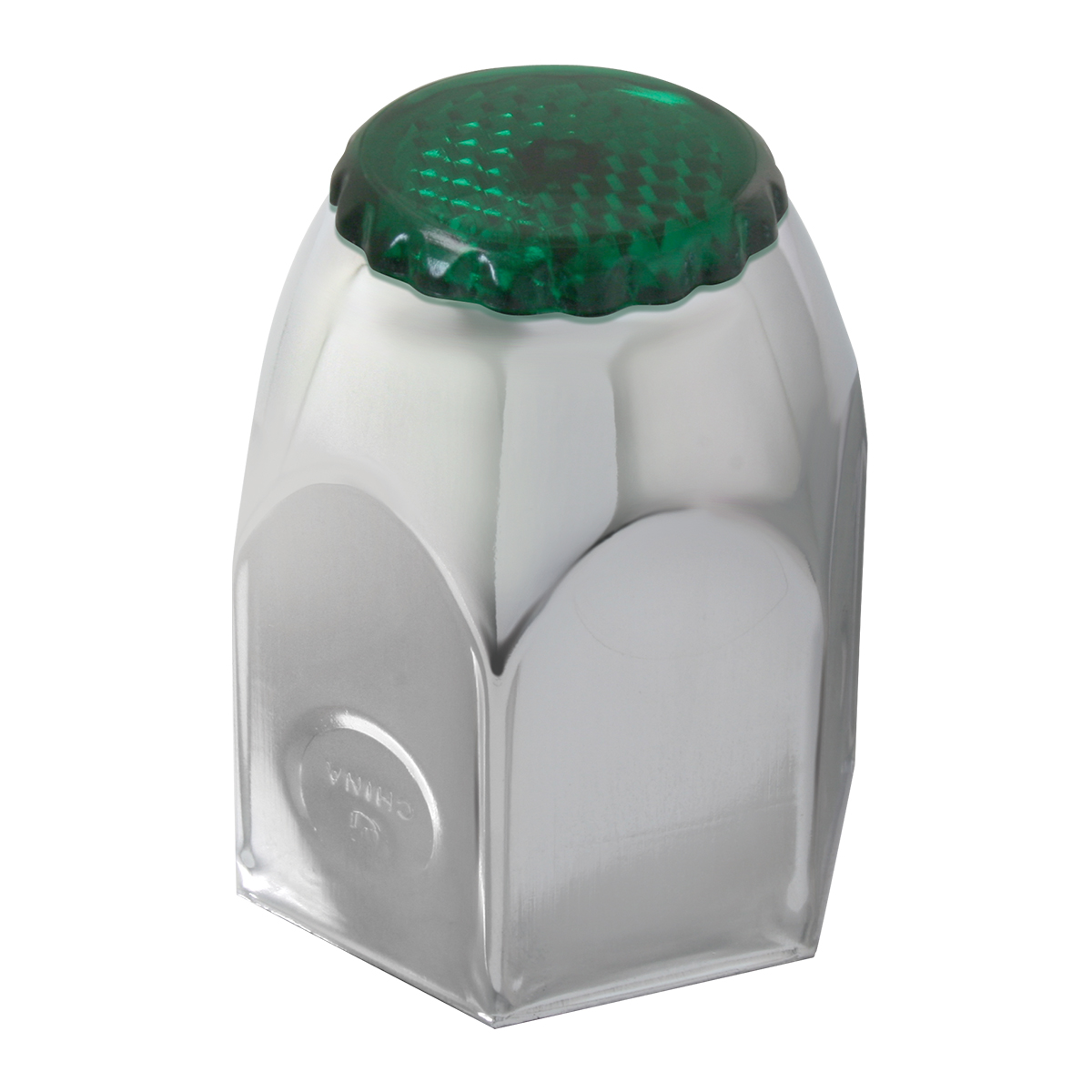 10420 Chrome Steel Green Reflector Push-On Lug Nut Cover w/o Flange