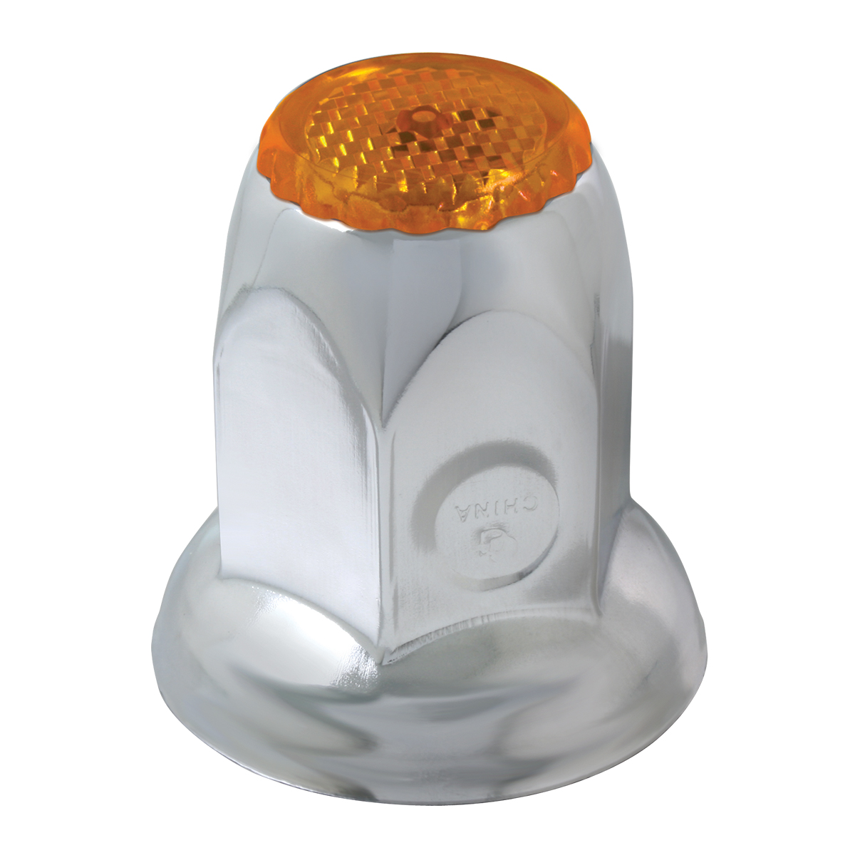 10490 Chrome Steel Amber Reflector Push-On Lug Nut Cover w/ Flange