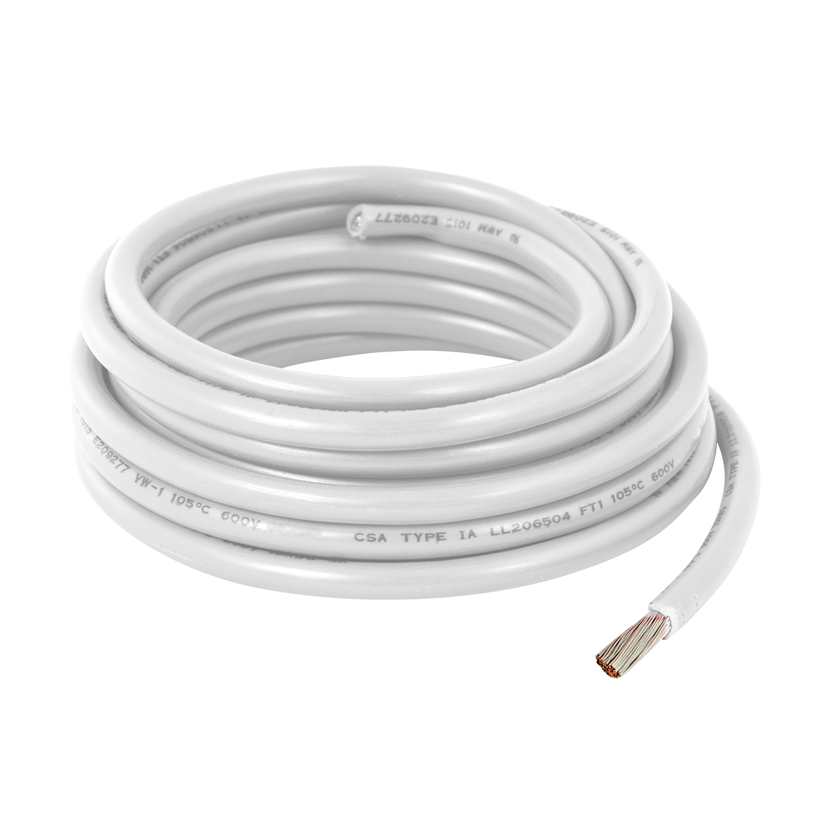 55005 White UL Listed Primary Wires in 14 Gauge