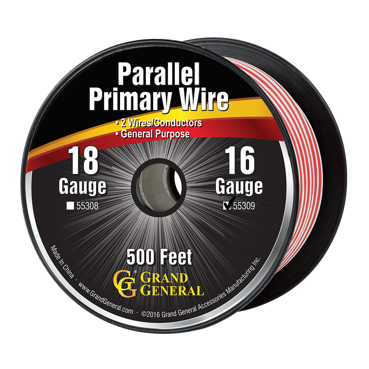 Red /& White Grand General 55301 Parallel Primary 2-Wire 25ft Roll with Spool For Trucks Automobile and More