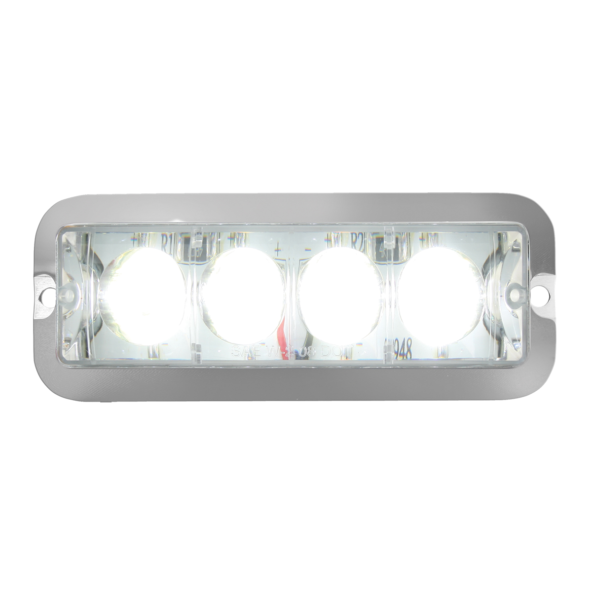 76534 White/Clear Medium Rectangular 4 LED Strobe Light