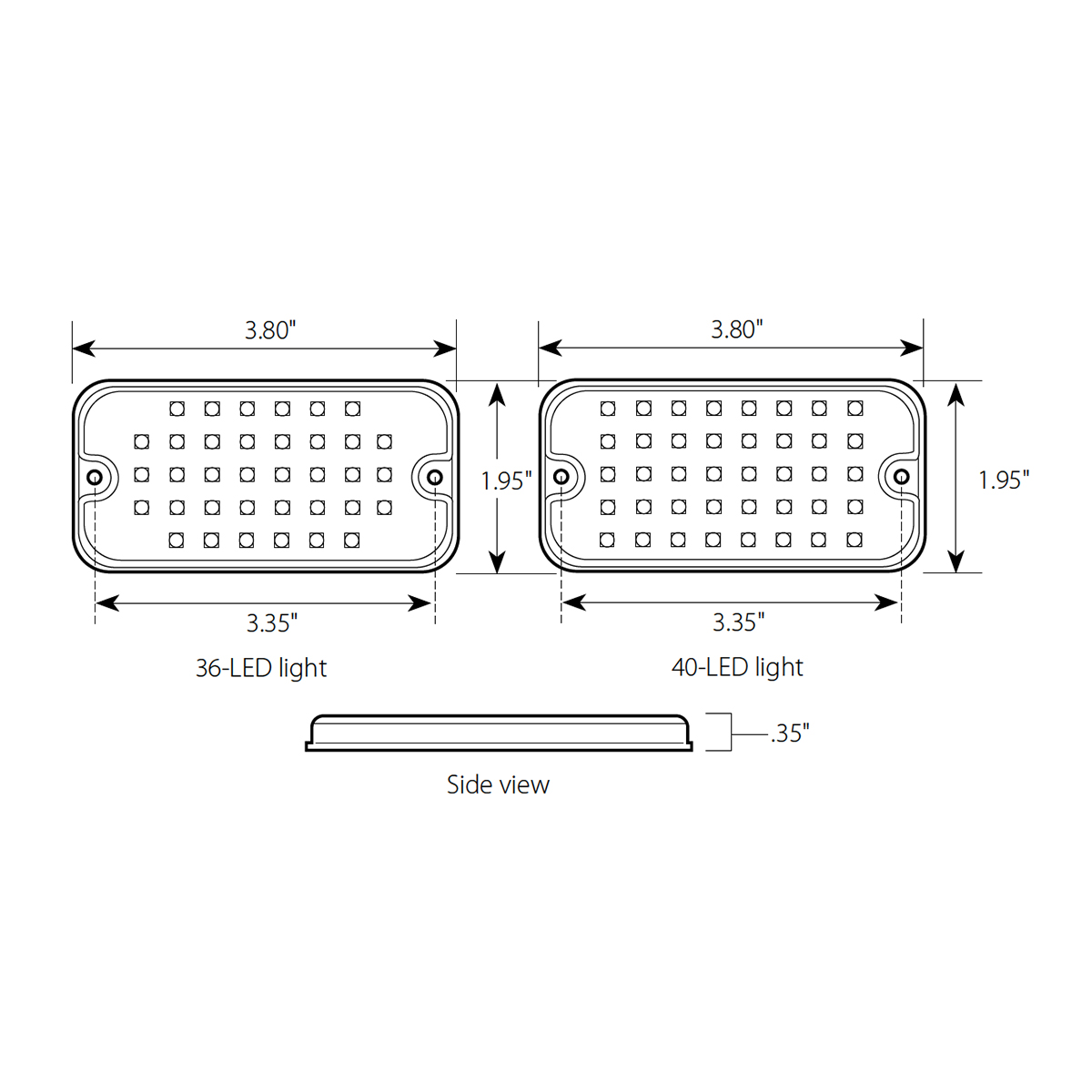 Ultra Thin Small Rectangular LED Strobe Light