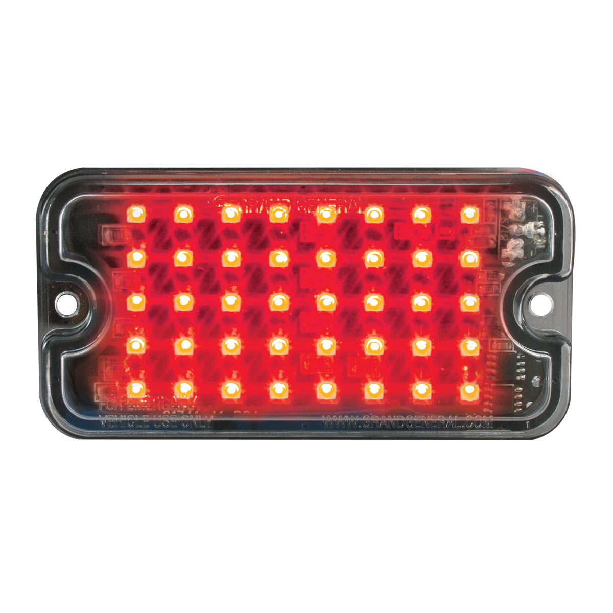 81742 Red/Clear Ultra Thin Small Rectangular LED Strobe Light