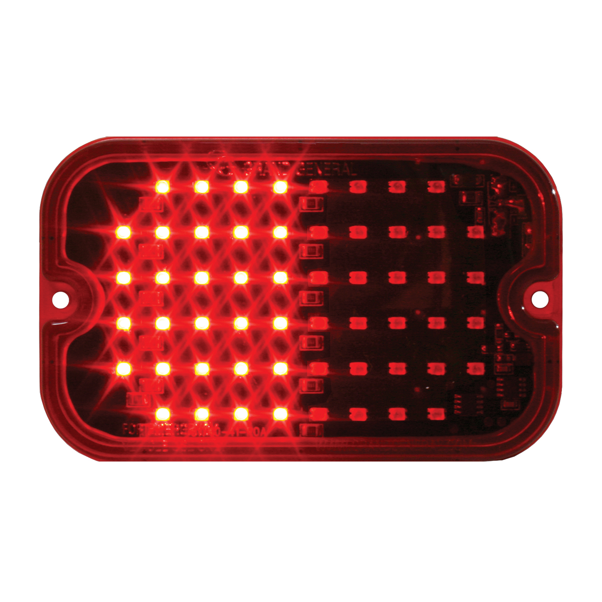 81745 Red/Red Ultra Thin Large Rectangular Strobe LED Light