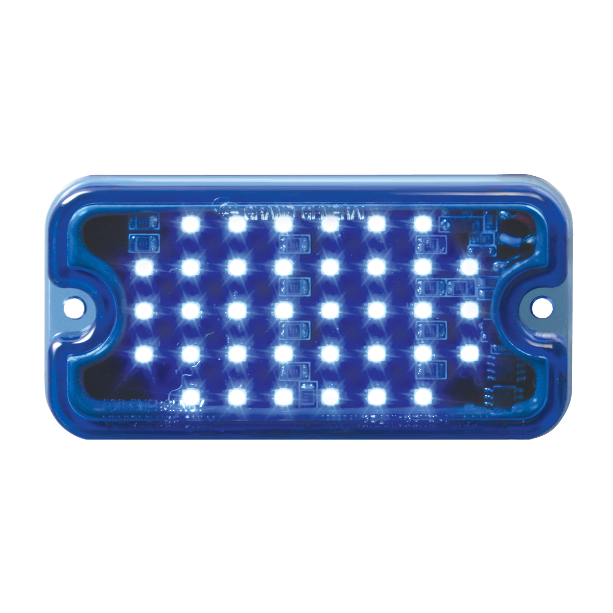 GG Grand General 81746 Amber//Amber LED Light Small Rectangle Multi-Strobe, 40-s, 8 Flash Patt.