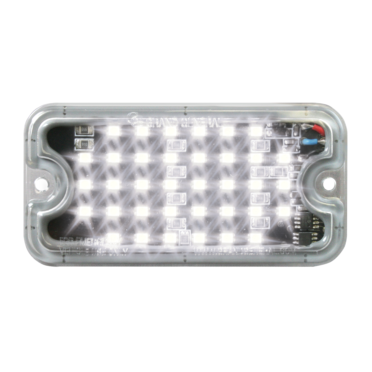 81749 White/Clear Ultra Thin Small Rectangular LED Strobe Light