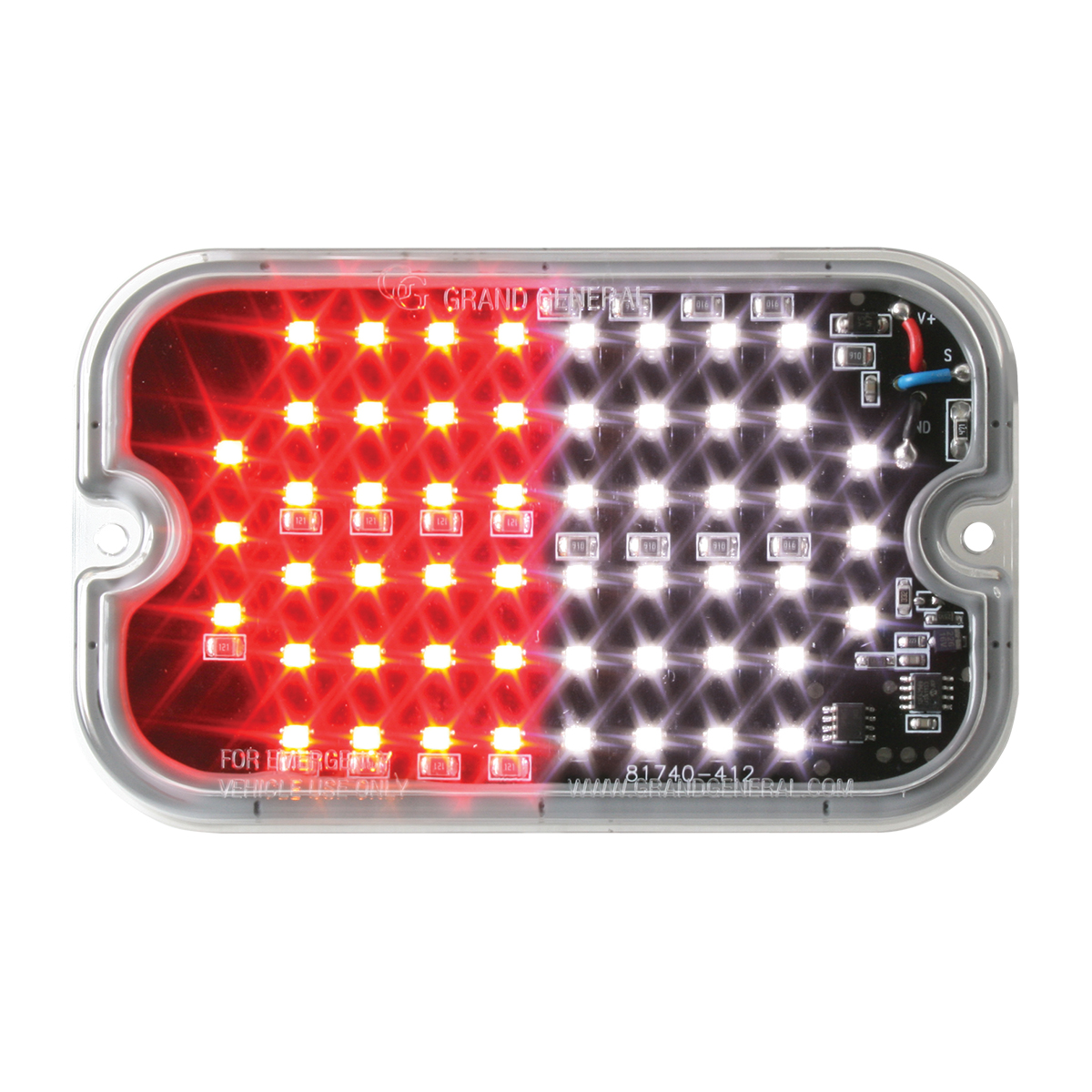 81763 White&Red/Clear Ultra Thin Large Rectangular Strobe LED Light