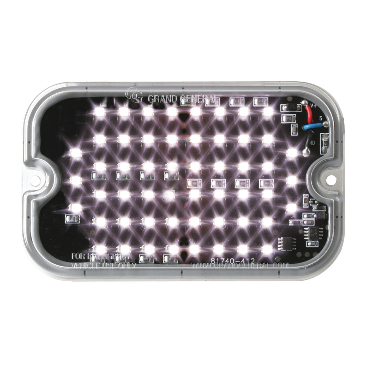 81764 White/Clear Ultra Thin Large Rectangular Strobe LED Light