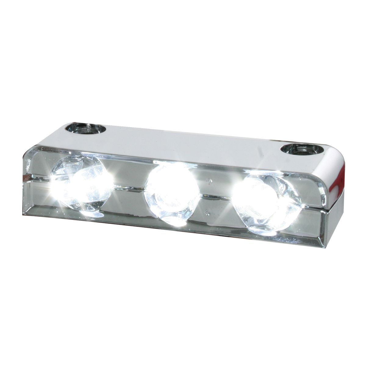 87404 White 3 LED Step Light w/ Chrome Housing