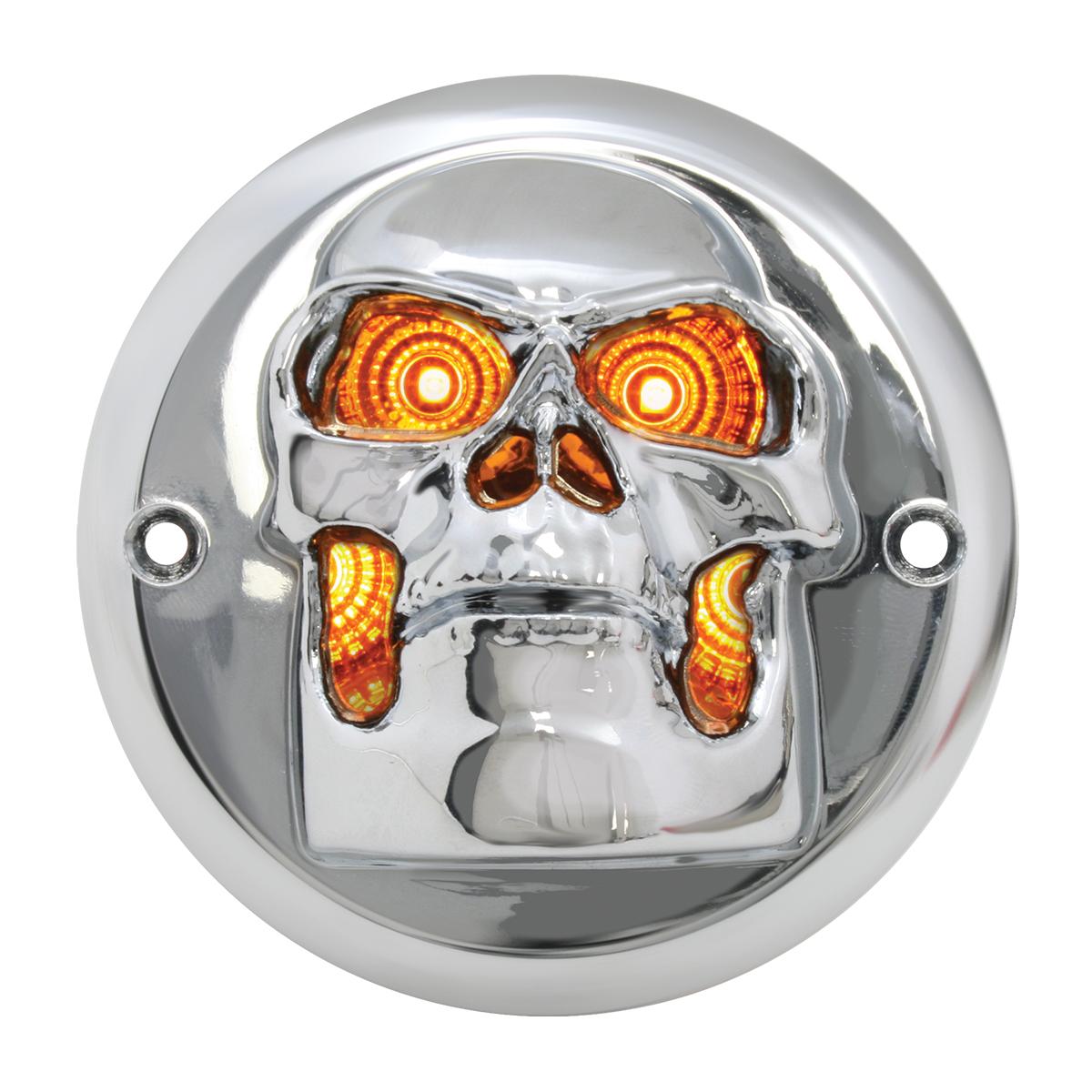 """78489 Chrome Plastic Skull Bezel for 2"""" Round Light (Light Not Included)"""