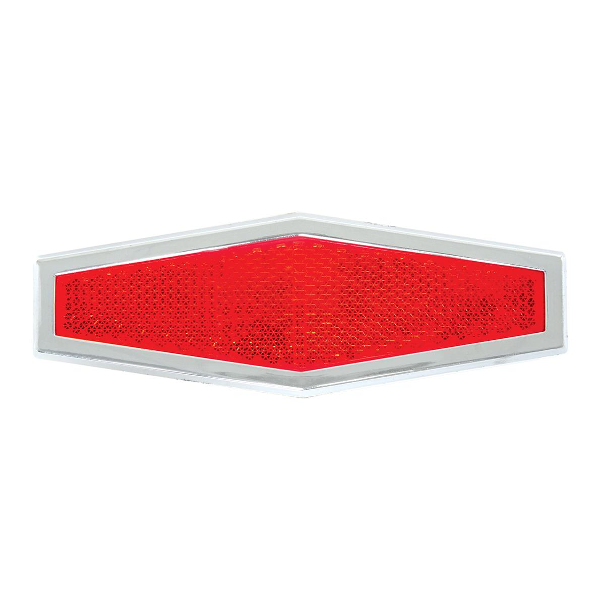 80864 Red Diamond Shape Stick-On Reflector w/ Chrome Trim
