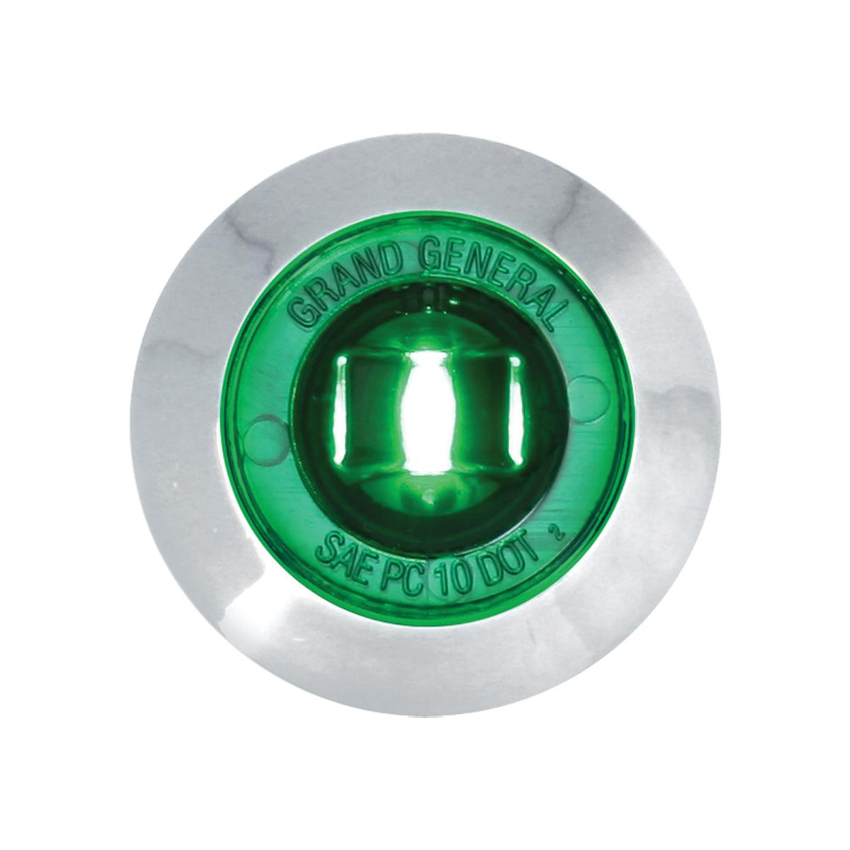 "87066 Green 1"" Dia. Mini Push/Screw-in Wide Angle LED Marker Light w/ Chrome Bezel"