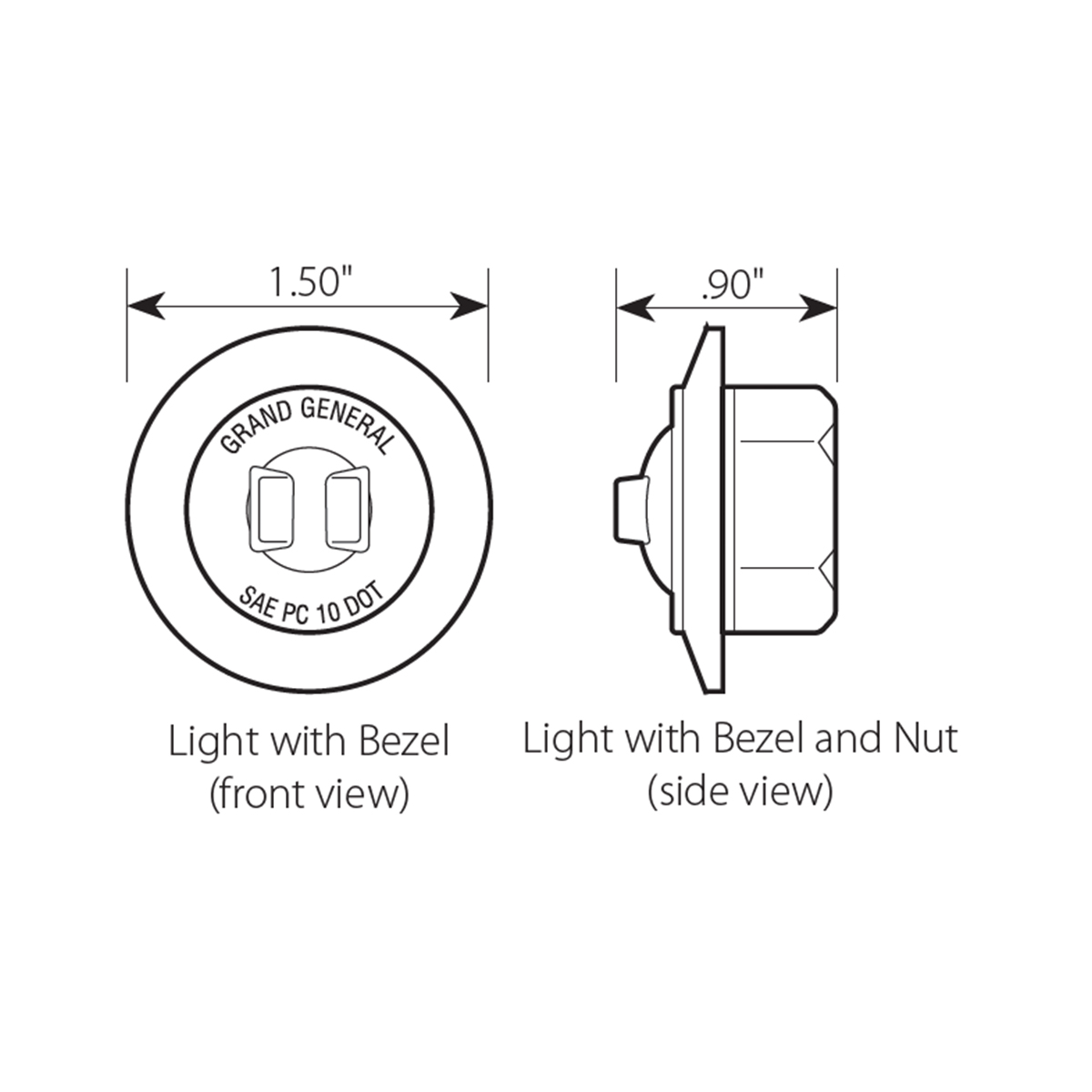 "1"" Dia. Mini Push/Screw-in Wide Angle LED Marker Light w/ Chrome Bezel - Diagram"