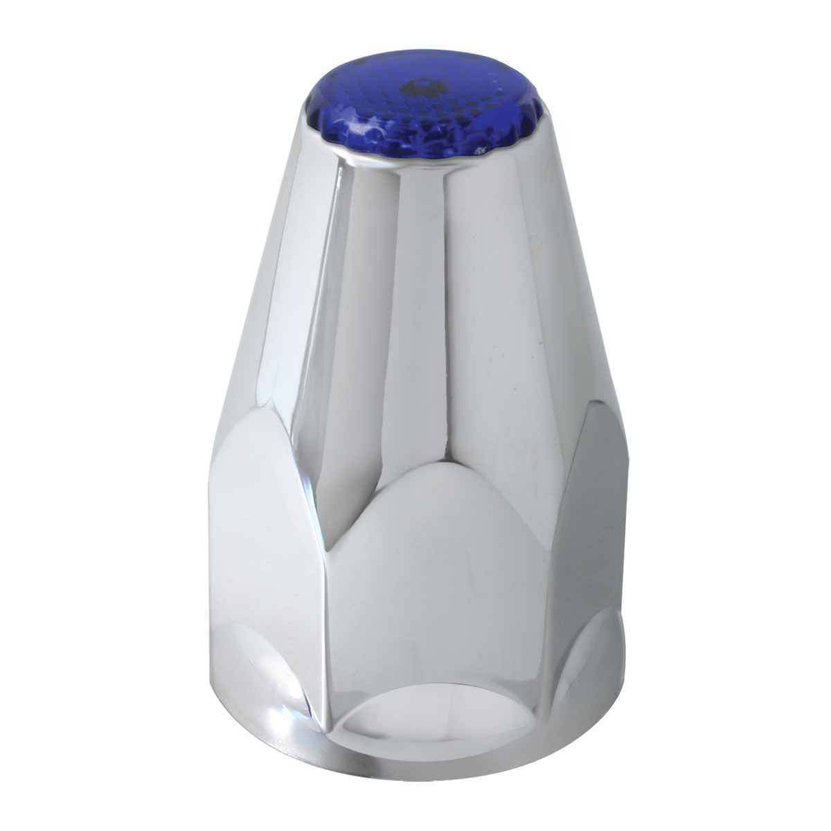 Classic Chrome Plastic 33mm Lug Nut Cover with Blue Reflector