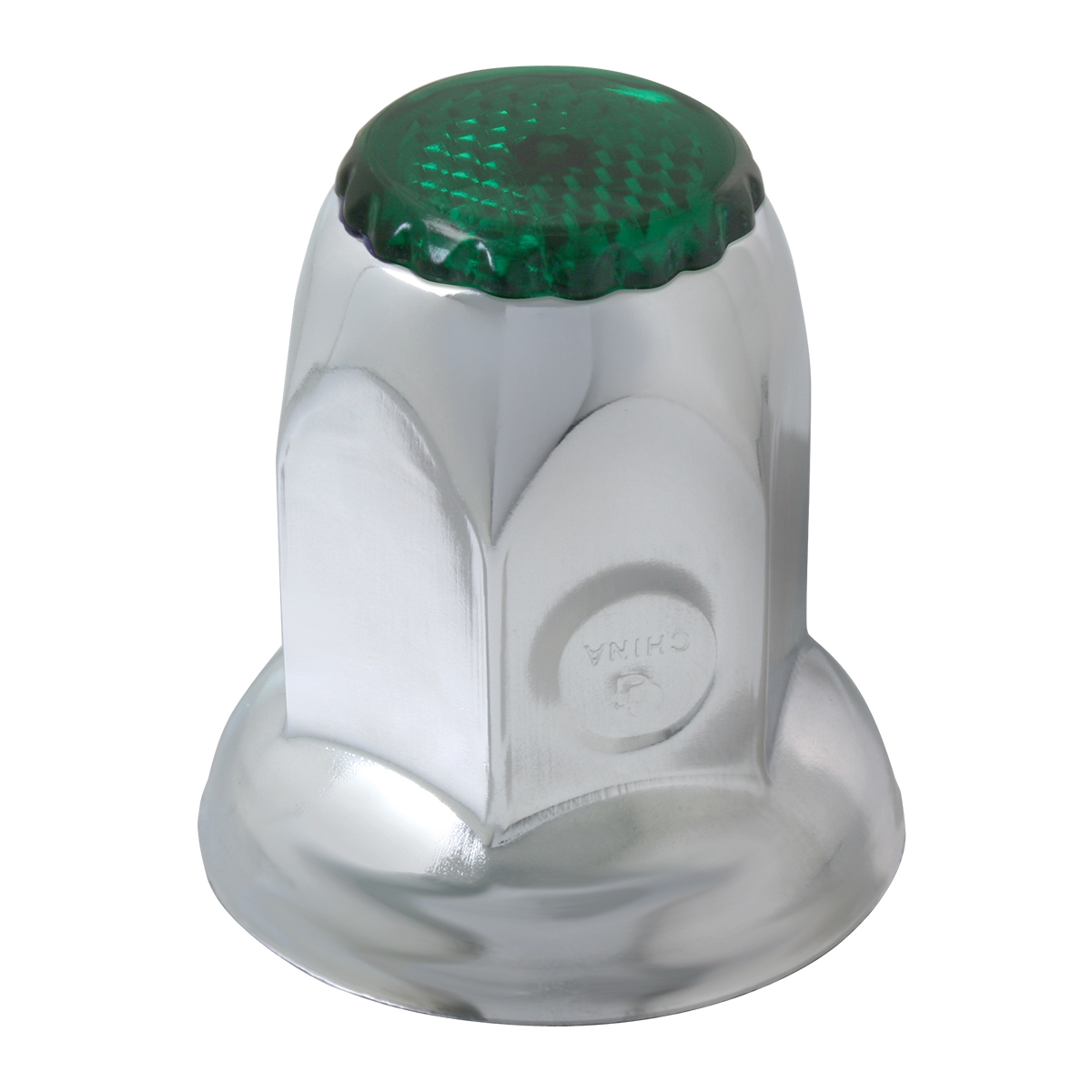Classic Stainless Steel 33mm Push-On Lug Nut Cover w/ Green Reflector