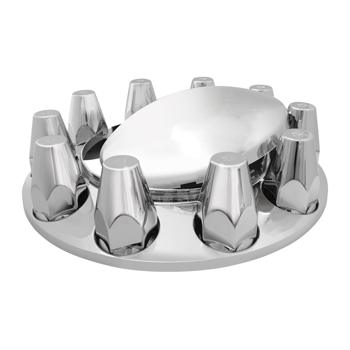 40131 & 40134 Chrome Plastic ABS Front Axle Covers with Removable Standard Hub Cap