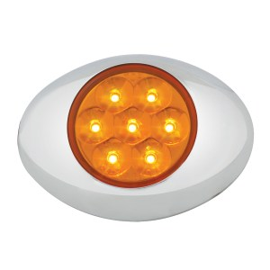 Small Low Profile Surface Mount Pearl LED Marker & Turn Light w/ Chrome Bezel